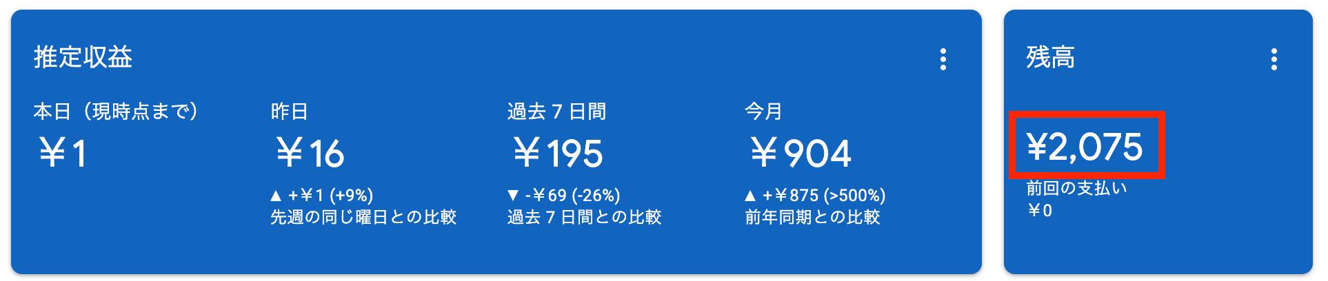 Googleアドセンスの収益の画像