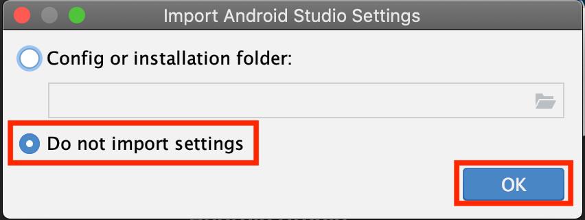 Android Studioのデータインポート選択画面