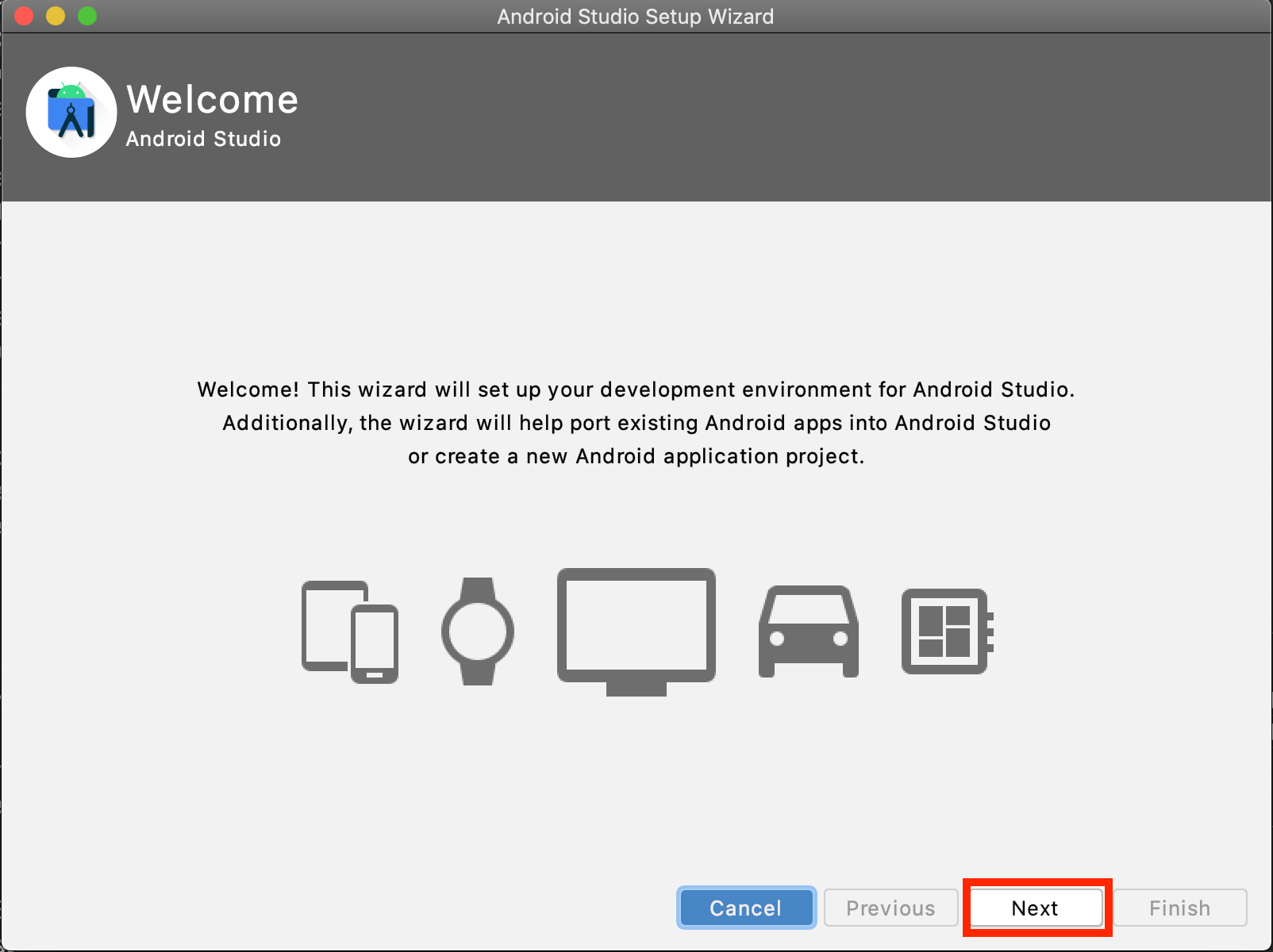 Android Studioのwelcome画面