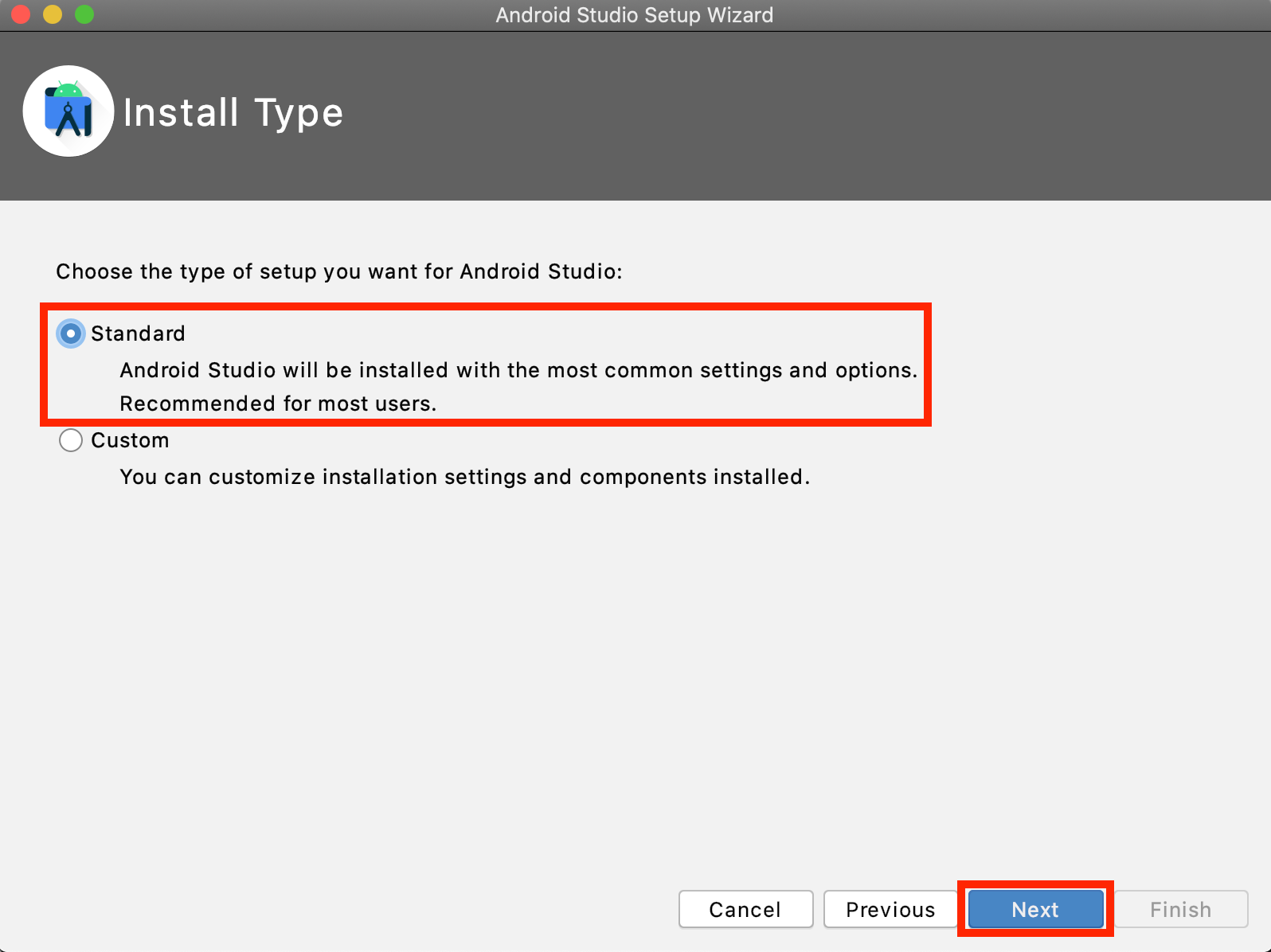 Android StudioのInstall Type選択画面