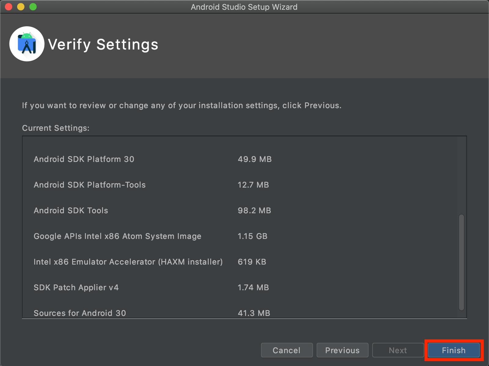 Android Studioの設定確認画面の画像