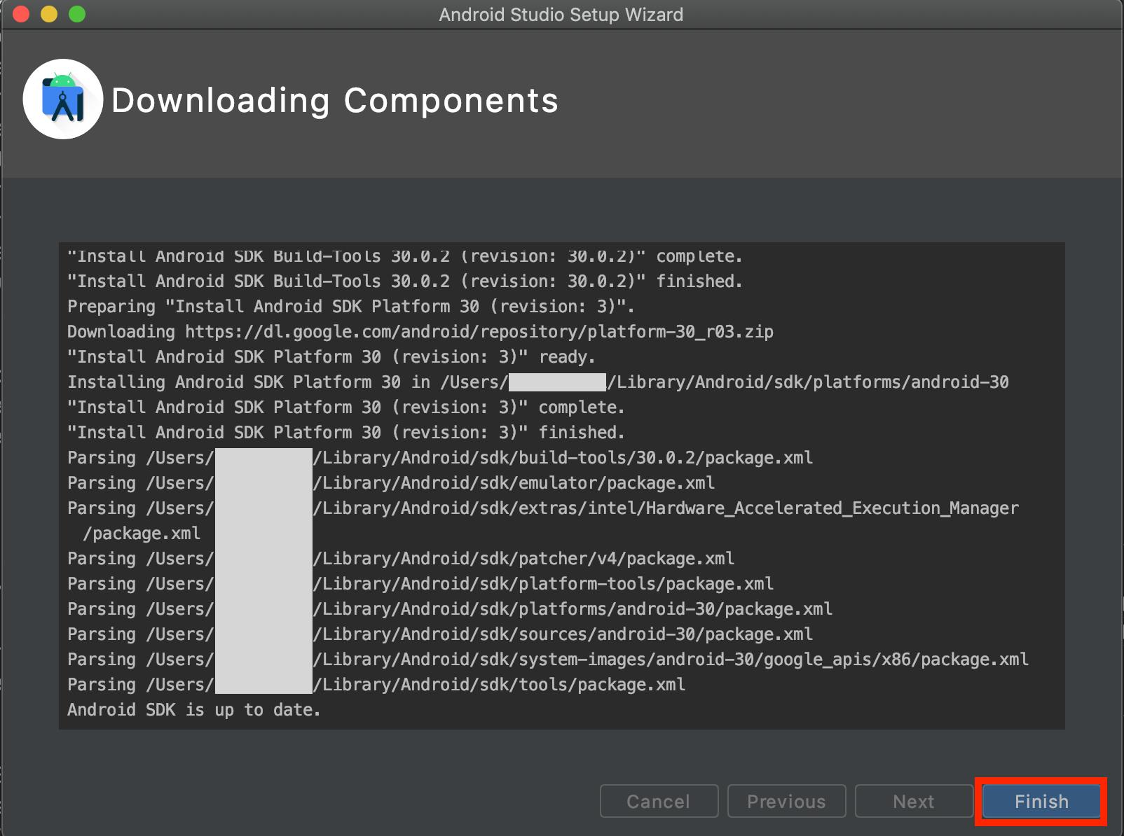 Android Studioのコンポーネントダウンロード画面