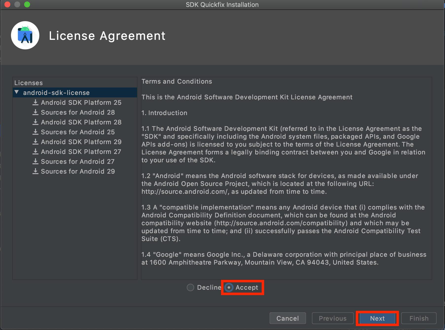 Andorid SDKのライセンス同意画面の画像