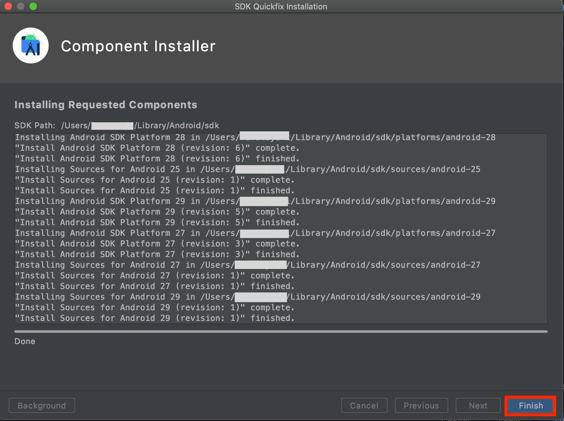 Android SDKダウンロード画面