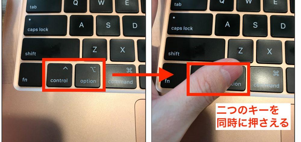 ワードプレスのショートカットキーを押さえる画像(control + optionキー)
